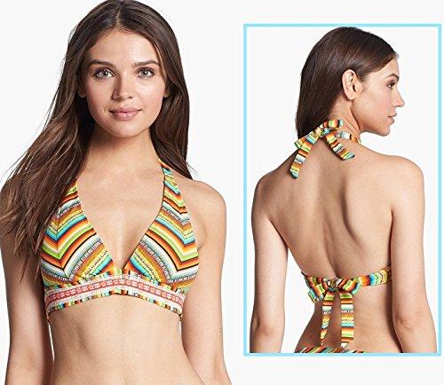 Swimsuit Banded Halter (Lucky Brand Women's Santiago Sunrise Banded Halter Bikini Top Sunrise D)