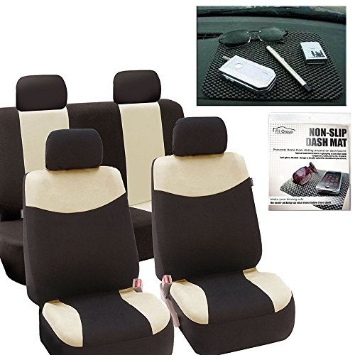 (FH GROUP FH-FB056114 Modern Flat Cloth Car Seat Covers Beige Color, with FH GROUP FH1002 Non-slip Dash Grip Pad- Fit Most Car, Truck, Suv, or Van)