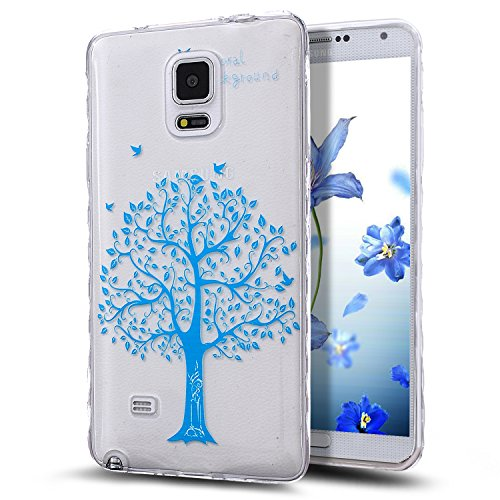 Galaxy Note 4 Case,NSSTAR Scratch-Proof Ultra Thin Crystal Clear Rubber Gel Transparent TPU Soft Silicone Bumper Case with Shockproof Protective Case for Samsung Galaxy Note 4 N910,Blue Tree Birds