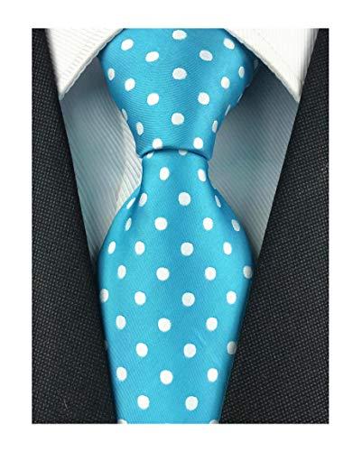 Men's Blue Ball Party Self Tie Dating Wedding Party Handmade Retro White Polka Dot Pattern
