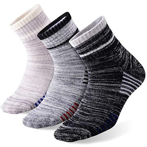 FEIDEER 3-Pack Men's Hiking Walking Athletic Socks Wicking Cushioned Quarter Sports Socks(18103-XL)