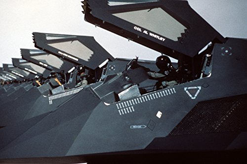 Home Comforts LAMINATED POSTER U.S. Air Force F-117 Nighthawks from the 37th Tactical Fighter Wing are lined up on the flight - Tactical Wing Fighter