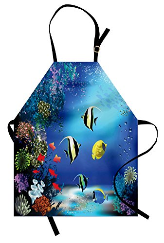 Ambesonne Underwater Apron, Tropical Undersea with Colorful Fishes Swimming in The Ocean Coral Reefs Artsy Image, Unisex Kitchen Bib Apron with Adjustable Neck for Cooking Baking Gardening, Blue - Fish Apron