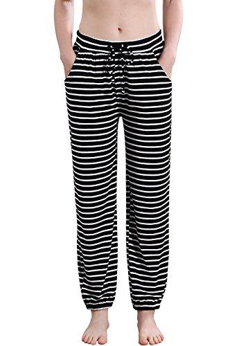 (Vislivin Women's Stretch Knit Pajama Pants Modal Sleep Pant Black Stripe Thin M)