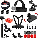 VVHOOY 24 in 1 Accessories Bundle Kit Compatible Gopro Hero 6/Hero 5 Session Black/AKASO EK7000/Brave 4K/V50 Native/DBPOWER EX5000/Crosstour/EKEN H9R Full HD Underwater Sports Action Camera