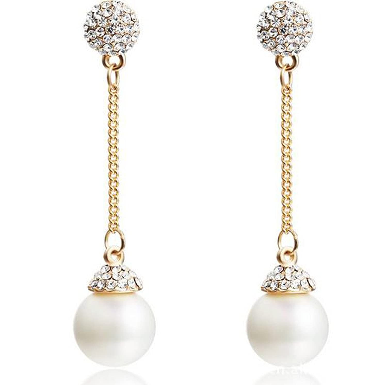 Modogirl Bohemia Simulated-pearl Long Round Statement Ear Clip earrings for Women