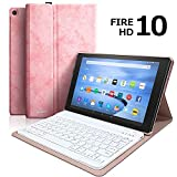 Keyboard Case for All-New Fire HD 10 (7th Generation, 2017 Release), Tablet Case with Detachable Wireless Bluetooth Keyboard for Amazon Fire HD 10.1'