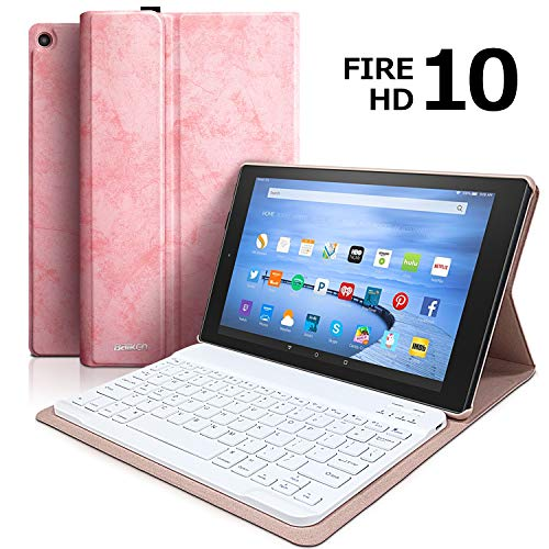 Price comparison product image Keyboard Case for All-New Fire HD 10 (7th Generation,  2017 Release),  Tablet Case with Detachable Wireless Bluetooth Keyboard for Amazon Fire HD 10.1""