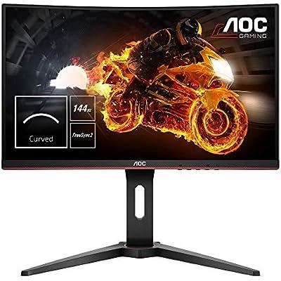 AOC C24G1 24  Curved LED FHD  1920x1080  FreeSync 144Hz Height Adjustable Gaming Monitor   VGA  HDMI Displayport  Black