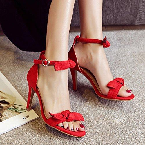 Carolbar Women's Grace Charm Bow Stiletto High Heel Dress Sandals Red fPVdq