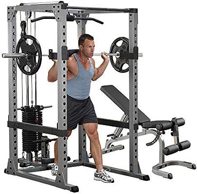 Body-Solid GPR378 Rack de potencia con Lat y banco de Heavy ...