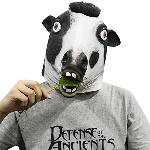 [Novelty Latex Creepy Dairy Cow Adult Head Mask Halloween Party Costume Decorations] (Animatronic Mask)