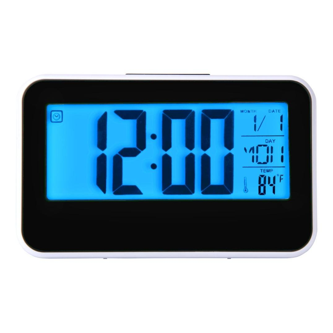 Hevoiok Smart Clock Calendar Time Temperature Display Digital Alarm Clock LED Digital Backlight Clock Bedroom Waterproof Silent Snooze Wakey Alarm [Energy Class A+++]