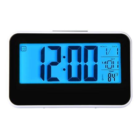 Hevoiok Smart Clock Calendar Time Temperature Display Digital Alarm Clock  LED Digital Backlight Clock Bedroom Waterproof