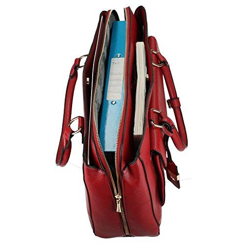 Amy tascabile, da borsetta da spalla da donna, da donna, misura grande, motivo: Fashion, SWANKYSWANS Tote Handbags Deep Red