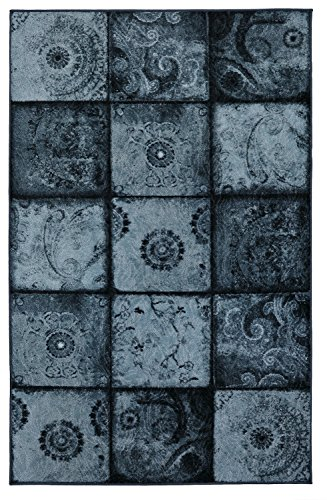 Mohawk Home Free Flow Artifact Panel Blue Patchwork Printed Area Rug, 7'6x10', Blue