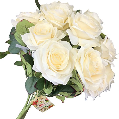 DALAMODA Ivory 2 Bundles (with Total 20 Heads) Rose Flower Bouquet, for DIY Any Decoration Artificial Silk Flower - Ivory Silk Rose