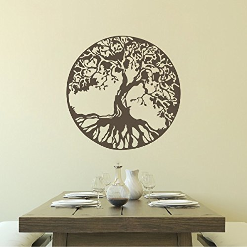 Tree Silhouettes Vinyl Decal-Celtic Tree of Life Sticker For Living Room Dining Room (X-Large,Dark Brown)