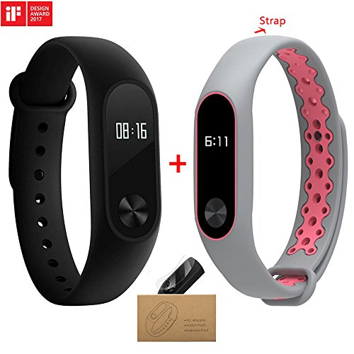 Xiaomi Mi Band 2 With a Strap Bluetooth 4.0 Xiaomi Mi Band 2 Wristband Bracelet With OLED Display Water-resistant Smart Heart Rate Fitness Tracker (grey and pink)