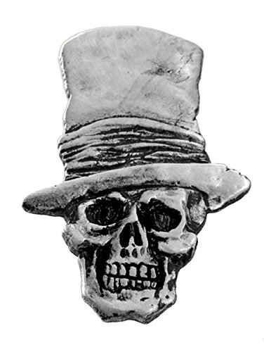(Skull with Top Hat Biker Pin - Hand Carved Pewter Motorcycle Vest Jacket Lapel Pin)
