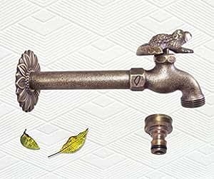 Decorativo latón macizo sapo (rana) jardín al aire libre grifo–con un latón conector