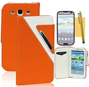 Tradekmk(TM) Faddish Flip Magnet Wallet Stand Leather Case Cover with Credit ID Card Slots Fit For Samsung Galaxy S3 i9300(Orange),with Stylus Pen,Screen Protector and Cleaning Cloth