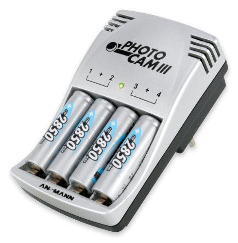 ANSMANN PhotoCam III Steckerladegerät Akku-Ladegerät für Micro AAA/Mignon AA Akkus LED-Anzeige + AA Akkus 2850mAh (4 Stück)