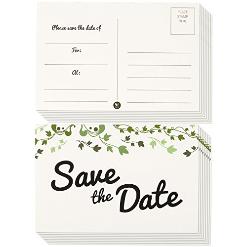 50-Pack Save the Date Postcards, Fill-In Reminder Cards Perfect for Weddings, Engagements, Baby Showers, Birthday Parties - Floral Ivy Leaf Design, 4 x 6 Inches