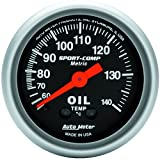 "Auto Meter 3341-M Sport-Comp 2-1/16"" Metric Water Temperature Gauge"