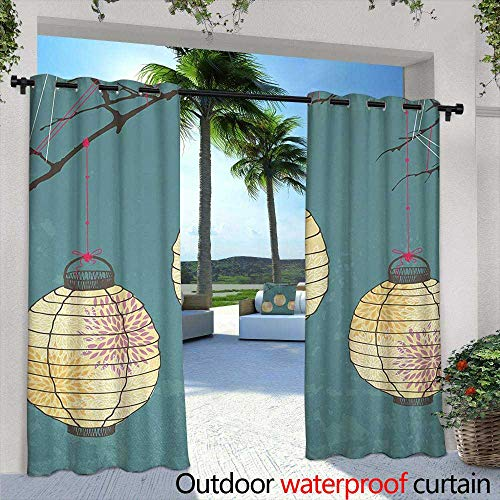 Tim1Beve Indoor/Outdoor Curtains Lantern Three Paper Lanterns Hanging on Branches Lighting Fixture Source Lamp Boho for Patio/Front Porch 96