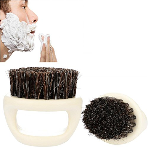 Beard Style Suits Comb Shaving Brush Bearded Comb Plastic Male Face Wash Shaving(White handle black hair)