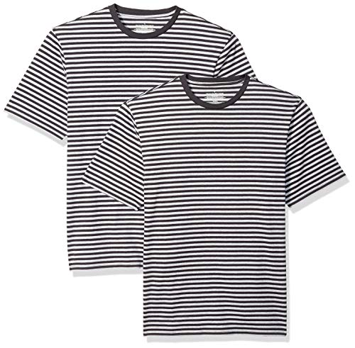 Amazon Essentials Men's Loose-Fit Short-Sleeve Stripe Crewneck T-Shirts, Black/Light Gray Heather, Small (Tall Mens Crewneck T-shirts)