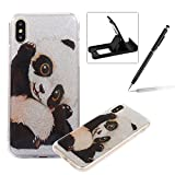 Glitter Case for iPhone X,Crystal TPU Cover for iPhone X,Herzzer Ultra Slim Creative [Funny Panda Pattern] Bling Sparkly IMD Design Shock-Absorbing Soft Silicone Gel Bumper Cover Flexible TPU Transparent Skin Protective Case