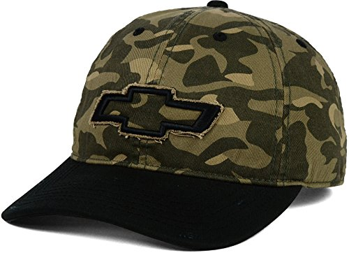 Chevy Motors Camo Canvas Strapback Slouch Hat Cap (One Size, Camo-Black)