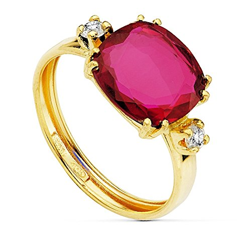 Bague Or 18k centre zircons pierre rouge de 10 mm. [AB2426]