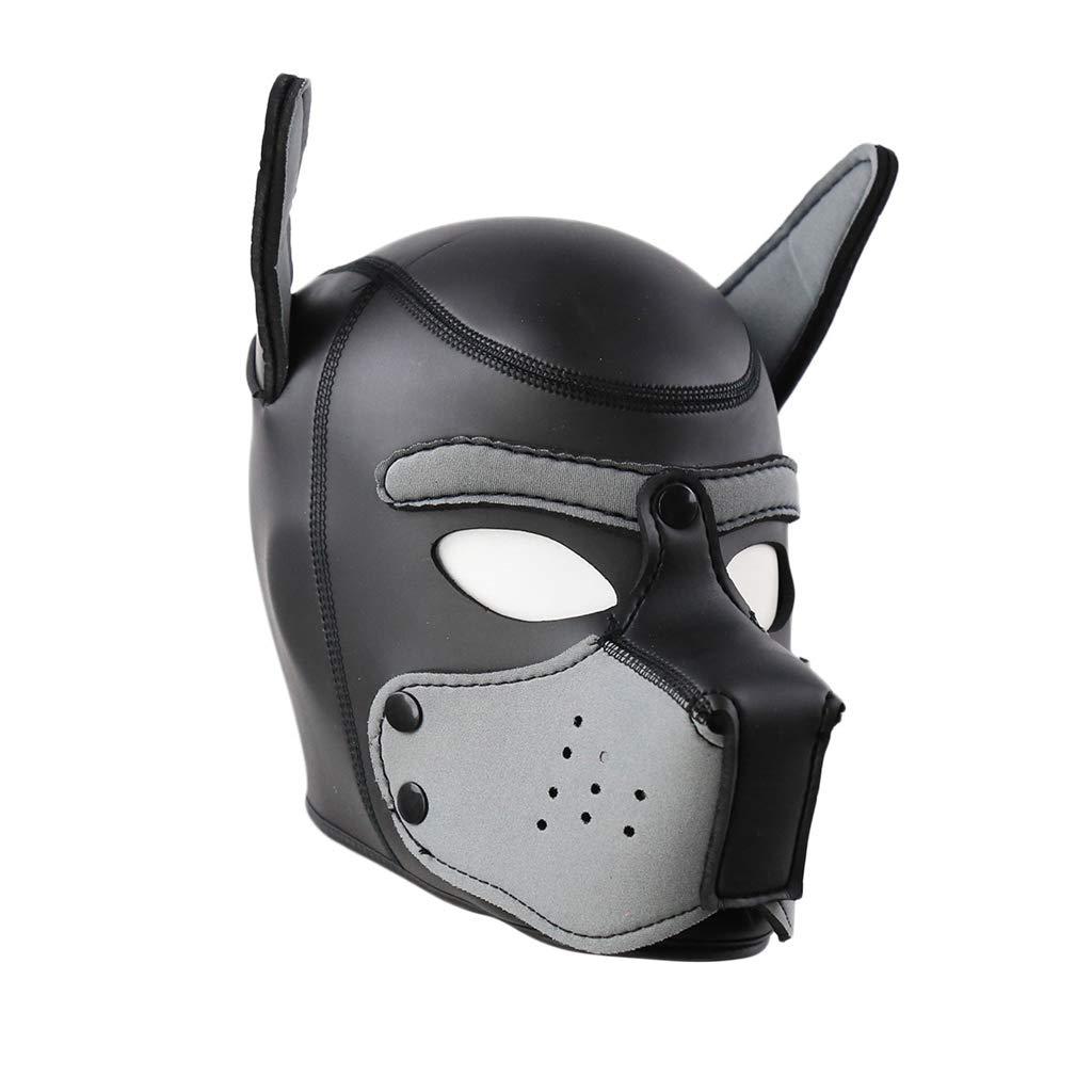 B`D+S-M Fē`t-i`s`h Hēadgeár Hood Face Dog Rubber Bálaclavǎs Mask Cōuplés Másquērade Toys (Gray) by BogddyCOS Ecommerce