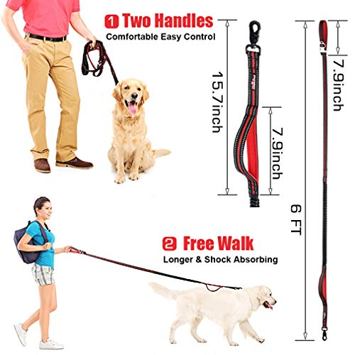 HICOBOS Dog Training Leash 6ft for Large Medium Dogs-2 Padded Traffic Handle Rope- Heavy Duty Shock Absorbing Bungee- Optional Hands Free for Dog Training, Walking, Jogging & Biking