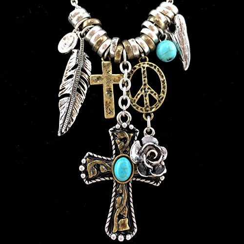 Western Cross Necklace (Western Peak Western Cross Rose Turquoise Rhinestone Gold Silver Charms Necklace with Earrings Set (Peace))