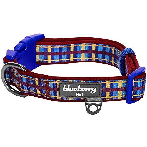 Blueberry Pet 7 Patterns Soft & Comfy Scottish Adventure Madison Stripes Designer Padded Dog Collar, Large, Neck 18-26, Adjustable Collars for Dogs
