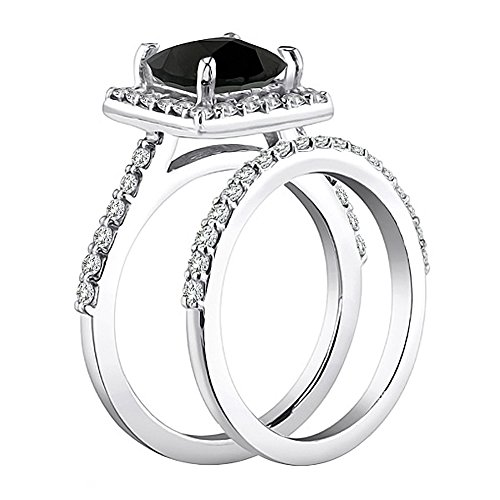 3 Carat Black Princess Square Beautiful Diamond Halo Engagement Bridal Band Ring 14K White Gold