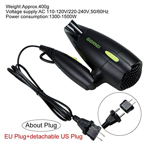 Professional Folding Blow Dryer for Travel 1300 to 1500W Negative Ion Small Hair Dryer Dual Voltage Lightweight,Mini 9x10 Inch Size, Gifts for Women,Green by Mannice (Image #5)