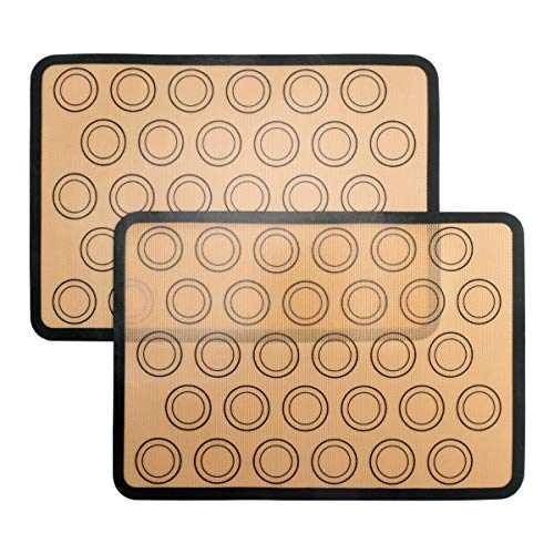 Silicone Baking Mat, 2-Pack Non-Stick Silicone Baking Sheet for Bake Pans & Rolling, Half Sheet (16-1/2'' x 11-5/8'') Silicon Liner for Macaron Pastry Cookie Bun Bread Making (Brown) by KAILEDI