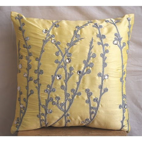 ry Yellow Euro Pillow Covers, 26