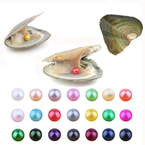 Quality Round Pearl - Pearl Oyster, 20 PCS Freshwater Cultured Love Wish Pearl Oyster with 7-8mm Round Pearls Inside for Jewelry Making or Birthday Gifts