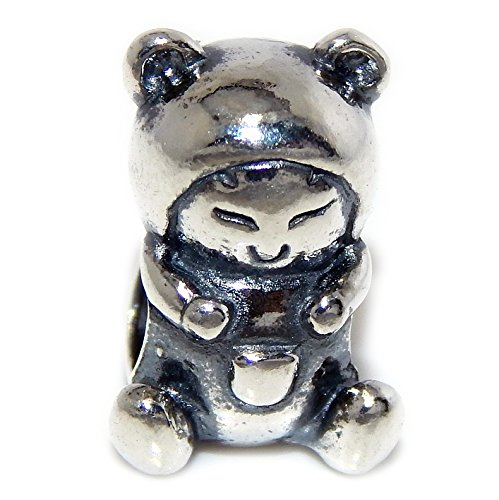 Lady Pandora Costumes (Pro Jewelry 925 Solid Sterling Silver Child Dressed in Bear Costume Charm Bead)