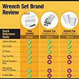 {22 Pieces + Bag} Ratcheting Wrench Set Ratchet Wrenches - Chrome Vanadium Steel With Tool Roll - SAE & Metric Combination Ended Standard Kit - Open End MM & Inch Gear With Large Size Organizer Pouch