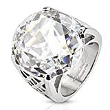 Round Cut Large Clear Gem Cast Ring Stainless Steel