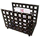 Old World Gothic Iron Magazine Rack | Nailhead Woven Holder Metal