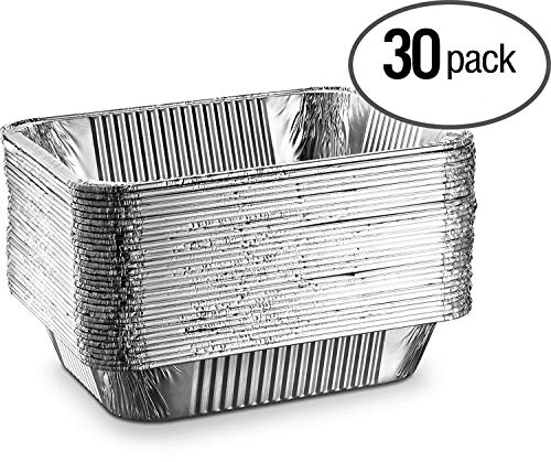 """[30 Pack - 9""""x13""""] Basix Disposable Aluminum Foil Meal Prep Cookware Half Size Pans, Oven, Toaster, Grill, Cooking, Roasting, Broiling, Baking, Event, Take Out, Restaurant from Basix"""