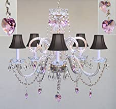 """Chandelier Lighting w/ Crystal Black Shades & Hearts! H25"""" X W24"""" - Perfect for Kid's and Girls Bedroom!"""